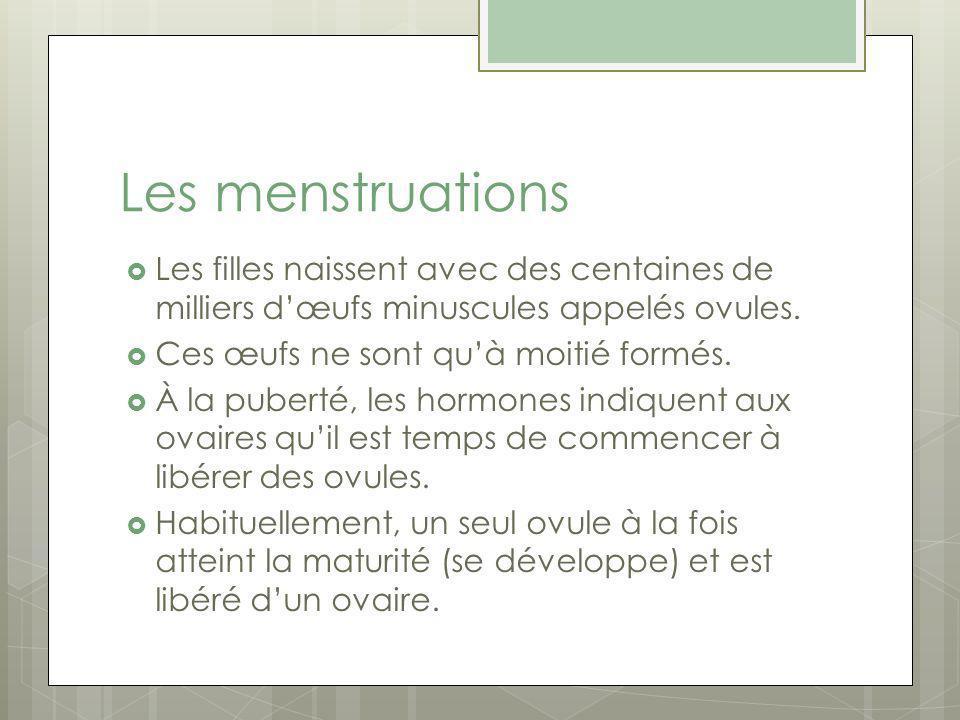 Les menstruations Les filles naissent avec des centaines de milliers d'œufs minuscules appelés ovules.