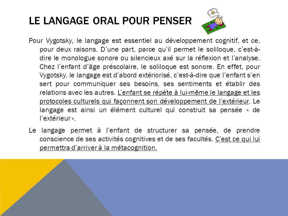 Le langage oral pour penser