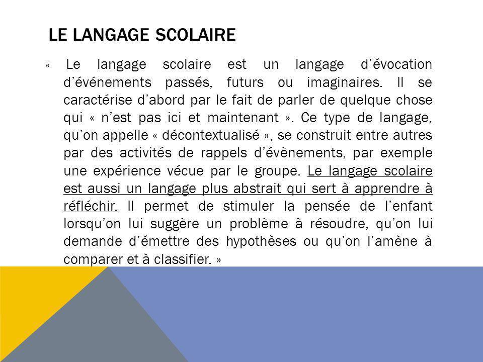 Le langage scolaire