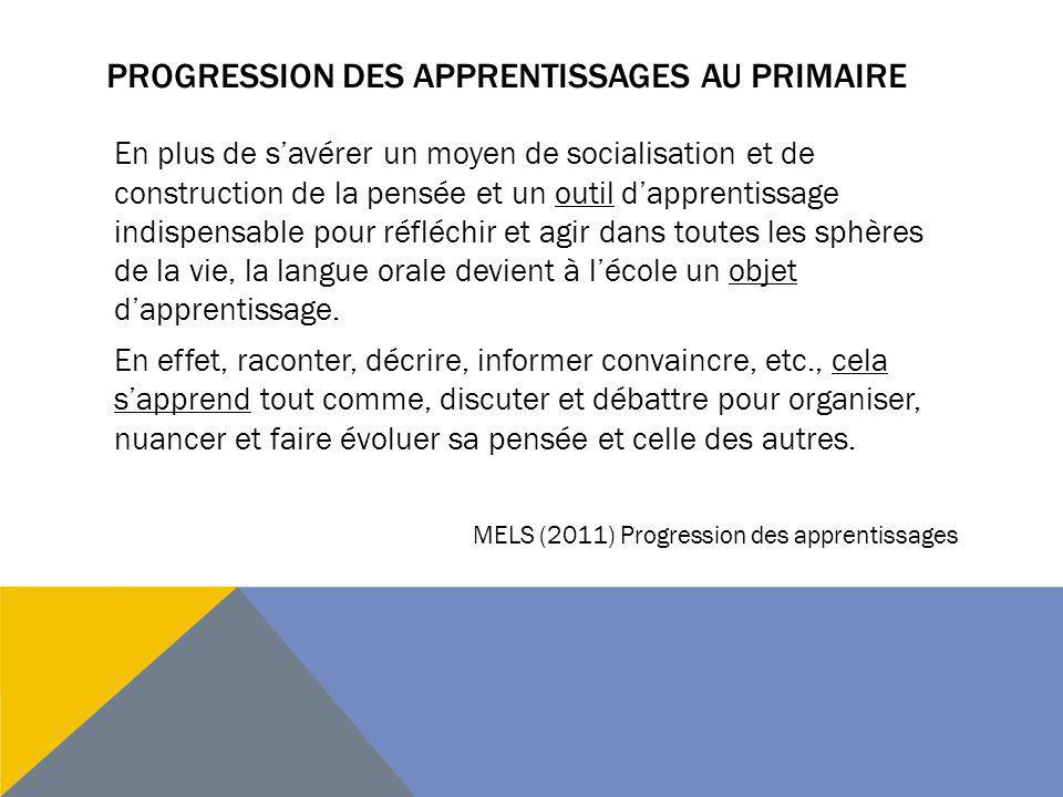 Progression des apprentissages au primaire