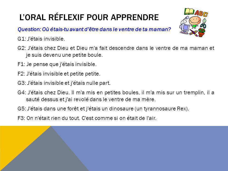 L'oral réflexif pour apprendre