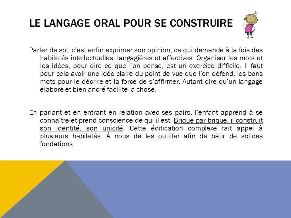Le langage oral pour se construire