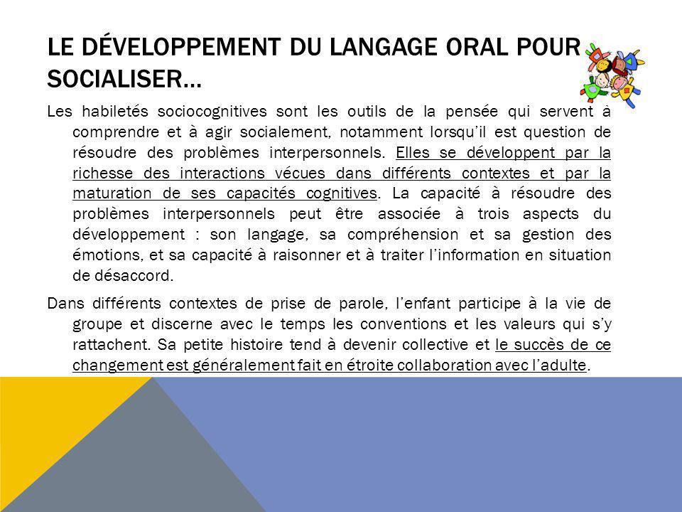 Le développement du langage Oral pour socialiser…