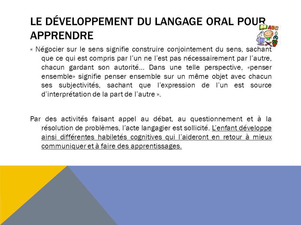 Le développement du langage oral pour apprendre
