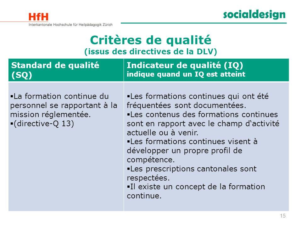 Critères de qualité (issus des directives de la DLV)