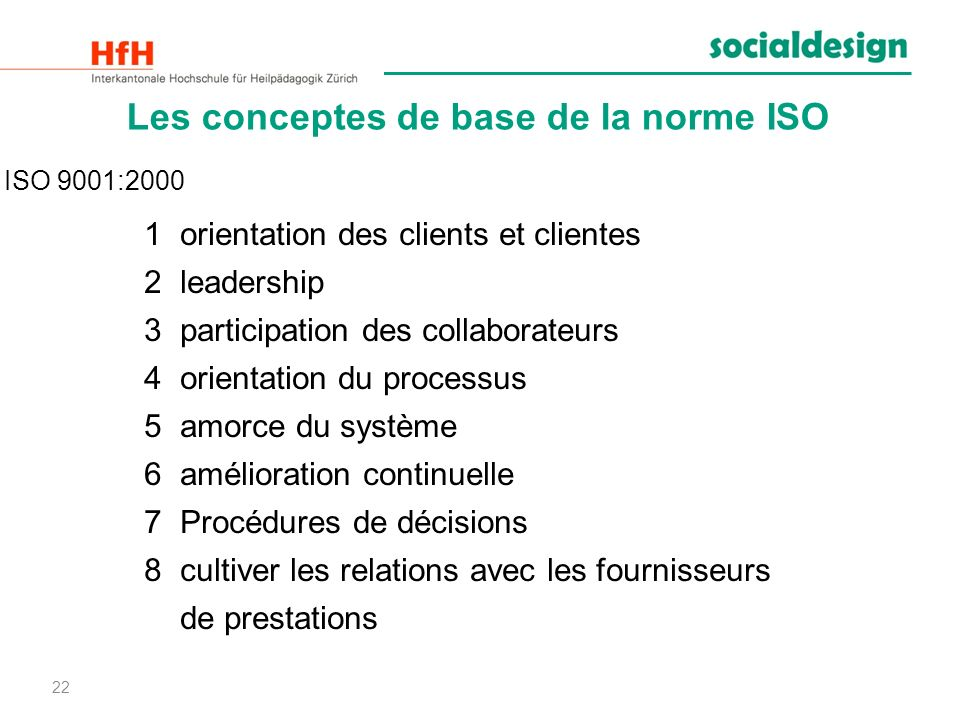 Les conceptes de base de la norme ISO
