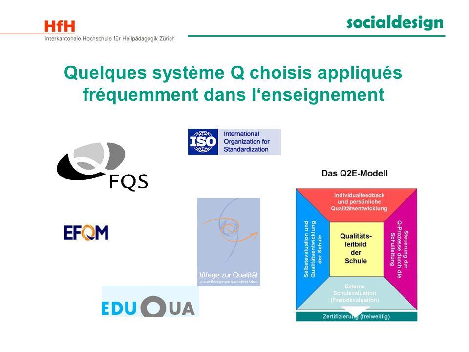 Quelques système Q choisis appliqués fréquemment dans l'enseignement