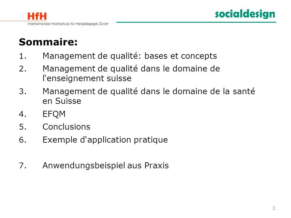 Sommaire: Management de qualité: bases et concepts