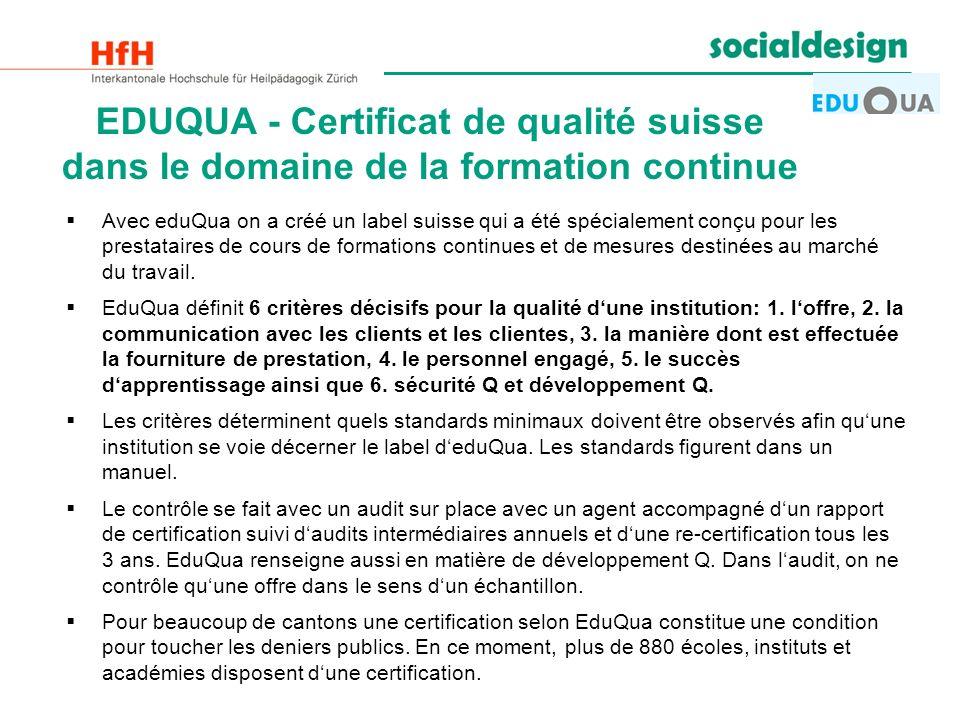 EDUQUA - Certificat de qualité suisse dans le domaine de la formation continue