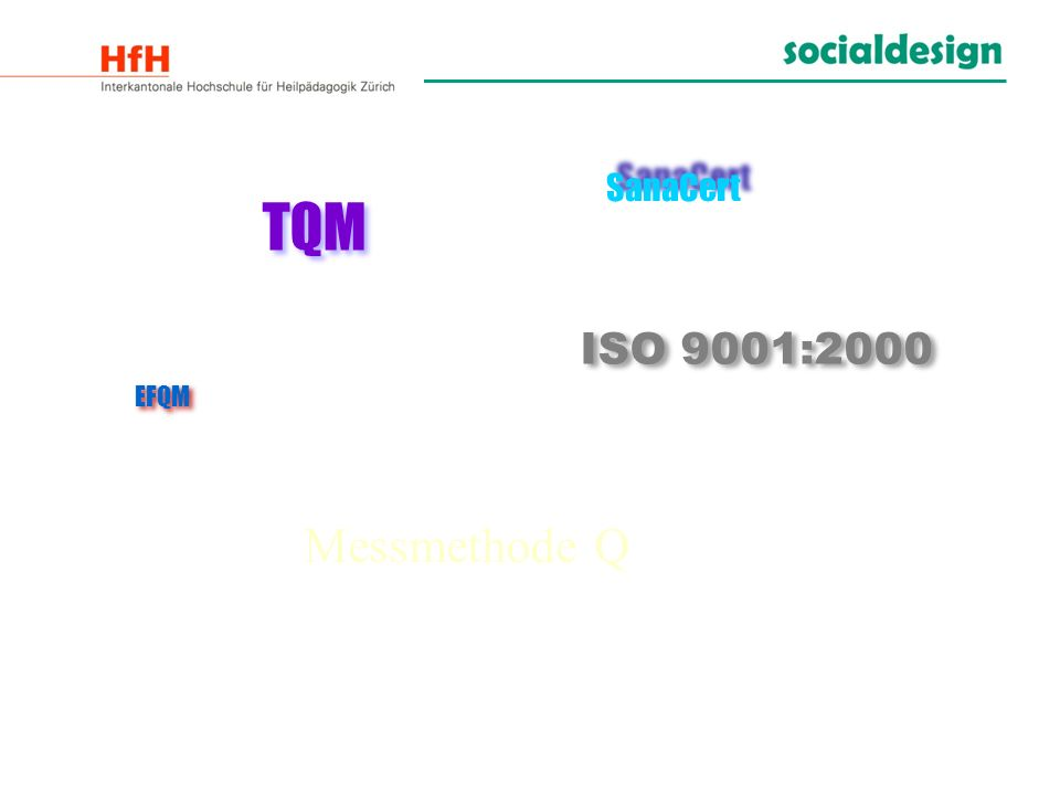 SanaCert TQM ISO 9001:2000 EFQM Messmethode Q