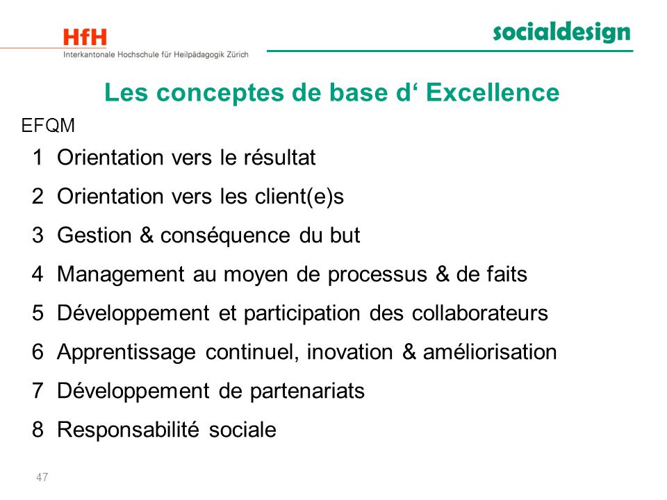 Les conceptes de base d' Excellence