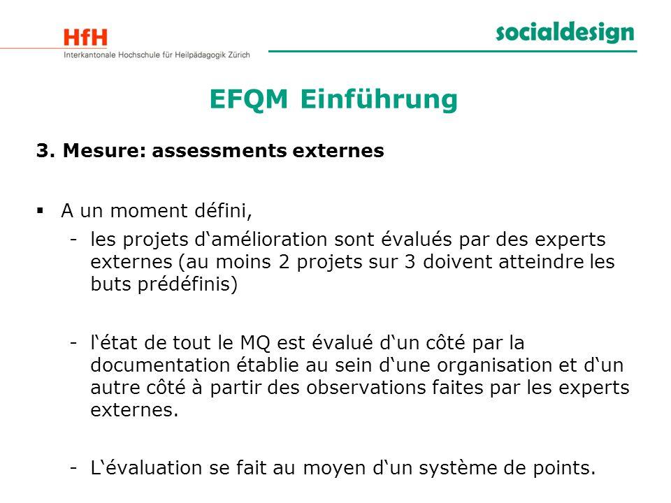 EFQM Einführung 3. Mesure: assessments externes A un moment défini,