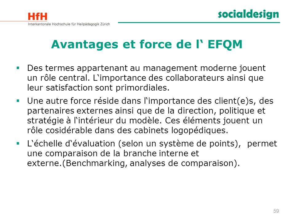 Avantages et force de l' EFQM