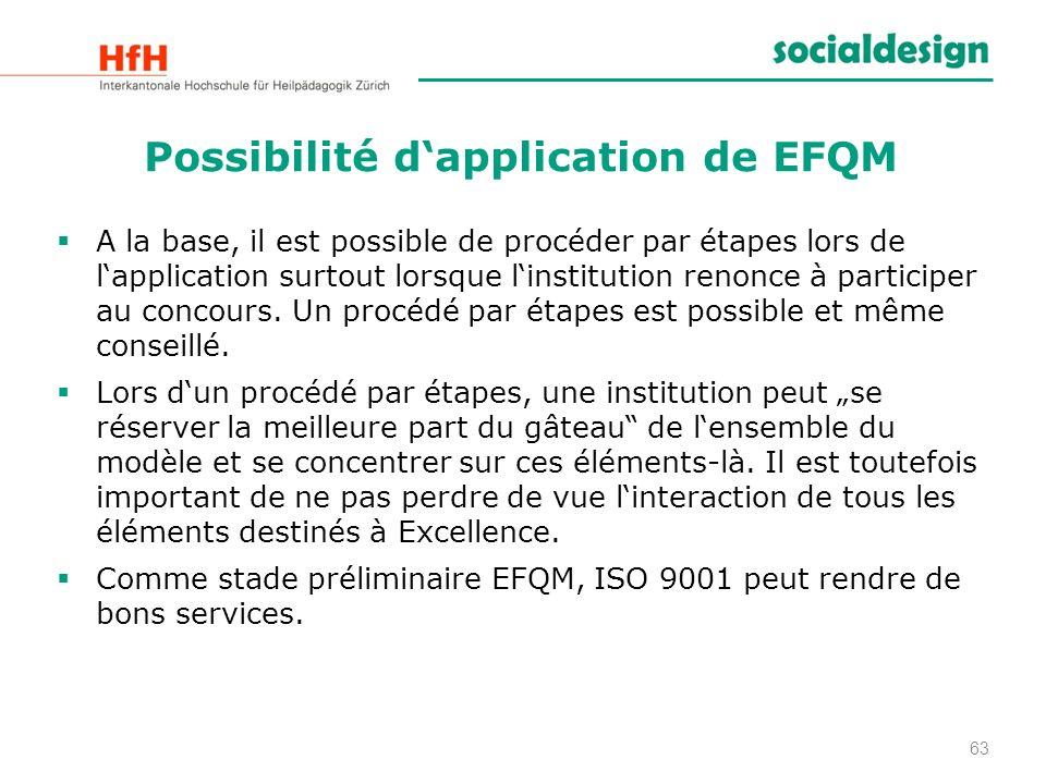 Possibilité d'application de EFQM
