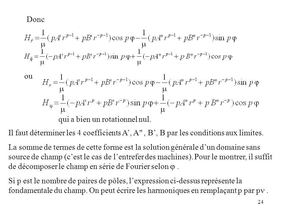 Donc ou. qui a bien un rotationnel nul. Il faut déterminer les 4 coefficients A', A , B', B par les conditions aux limites.