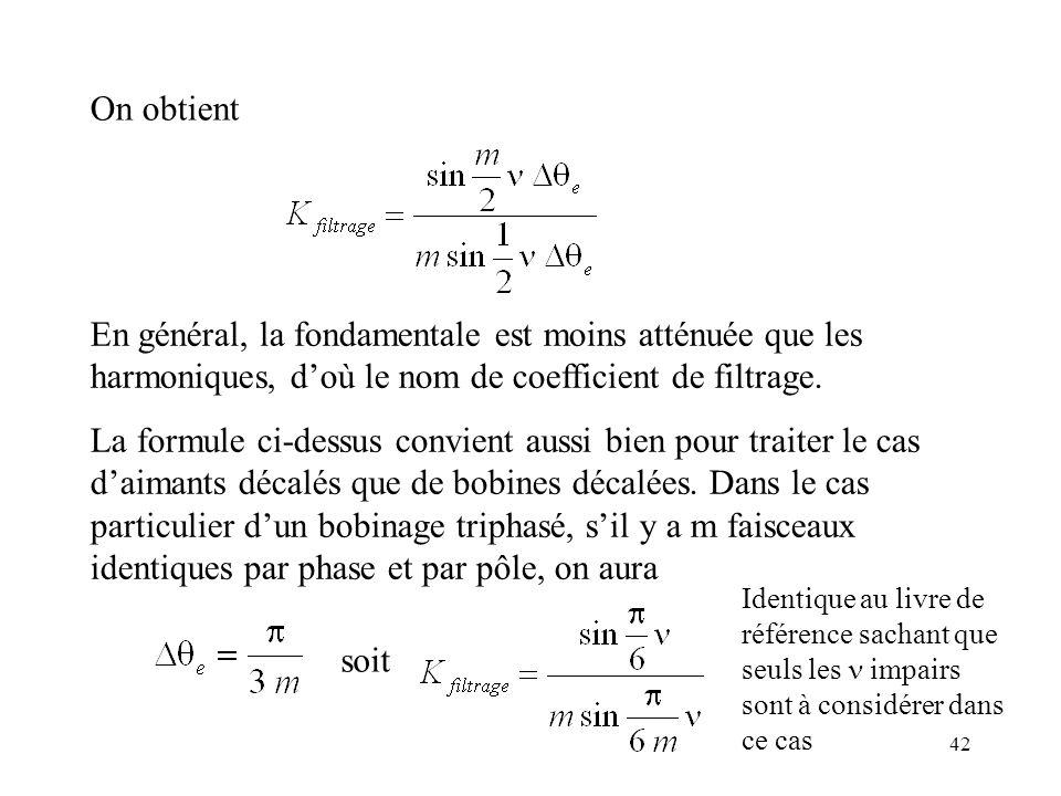 On obtient En général, la fondamentale est moins atténuée que les harmoniques, d'où le nom de coefficient de filtrage.
