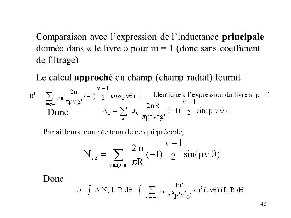 Le calcul approché du champ (champ radial) fournit