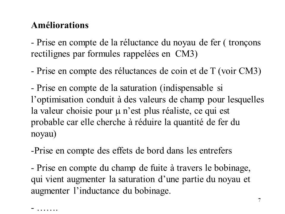 Améliorations Prise en compte de la réluctance du noyau de fer ( tronçons rectilignes par formules rappelées en CM3)