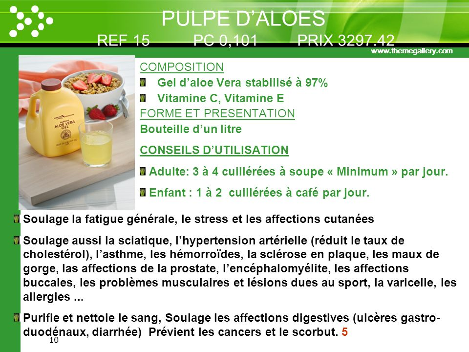 PULPE D'ALOES REF 15 PC 0,101 PRIX 3297.42