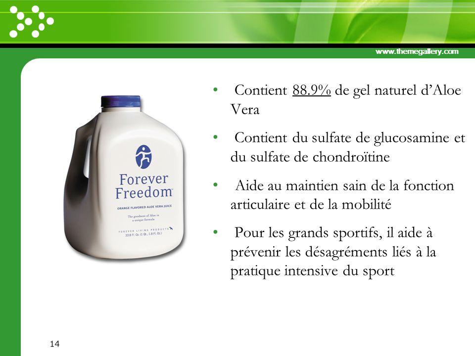 Contient 88.9% de gel naturel d'Aloe Vera