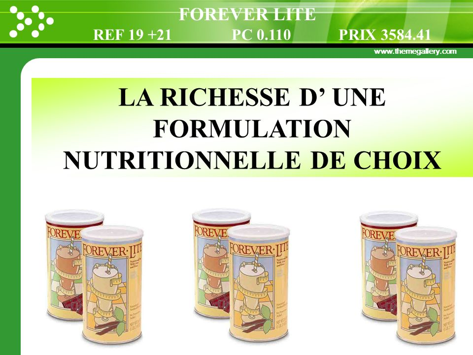 LA RICHESSE D' UNE FORMULATION NUTRITIONNELLE DE CHOIX