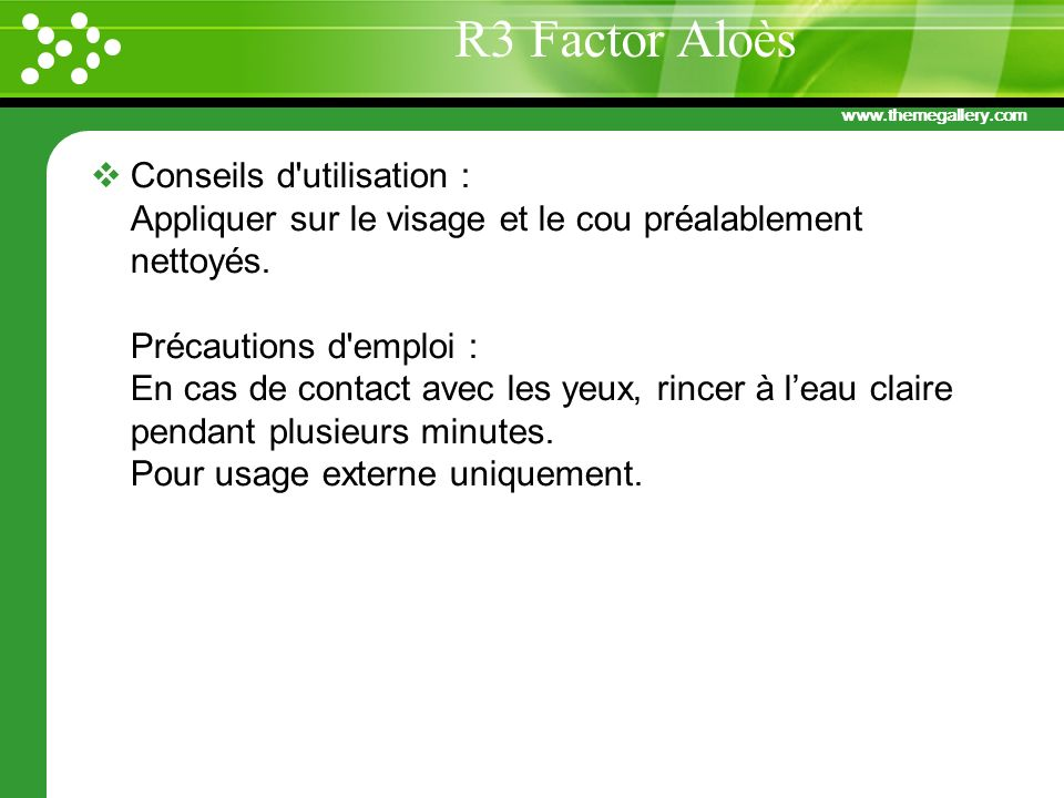 R3 Factor Aloès