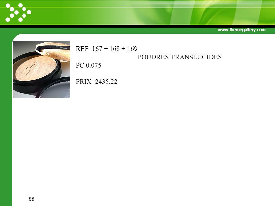 REF 167 + 168 + 169 POUDRES TRANSLUCIDES PC 0.075 PRIX 2435.22