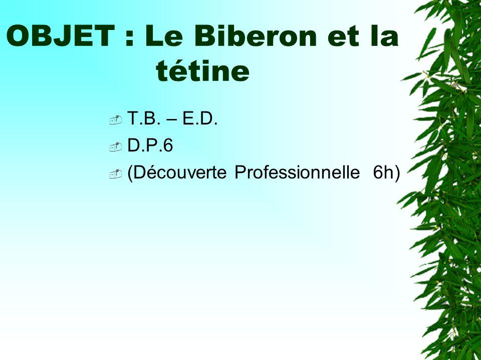 OBJET : Le Biberon et la tétine