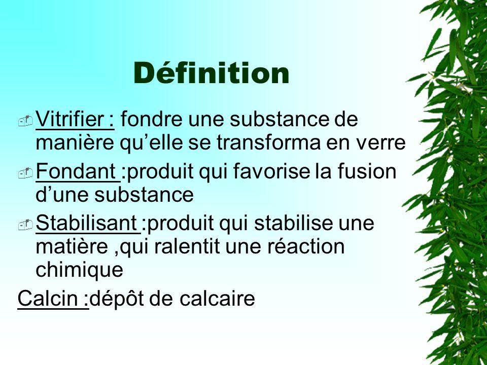 Définition Vitrifier : fondre une substance de manière qu'elle se transforma en verre. Fondant :produit qui favorise la fusion d'une substance.