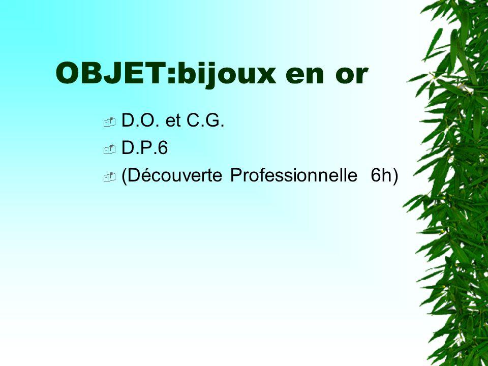 OBJET:bijoux en or D.O. et C.G. D.P.6 (Découverte Professionnelle 6h)