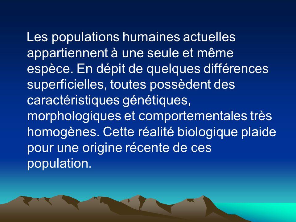 Les populations humaines actuelles appartiennent à une seule et même espèce.