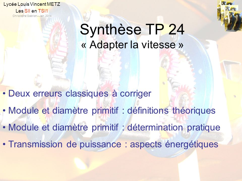 Synthèse TP 24 « Adapter la vitesse »
