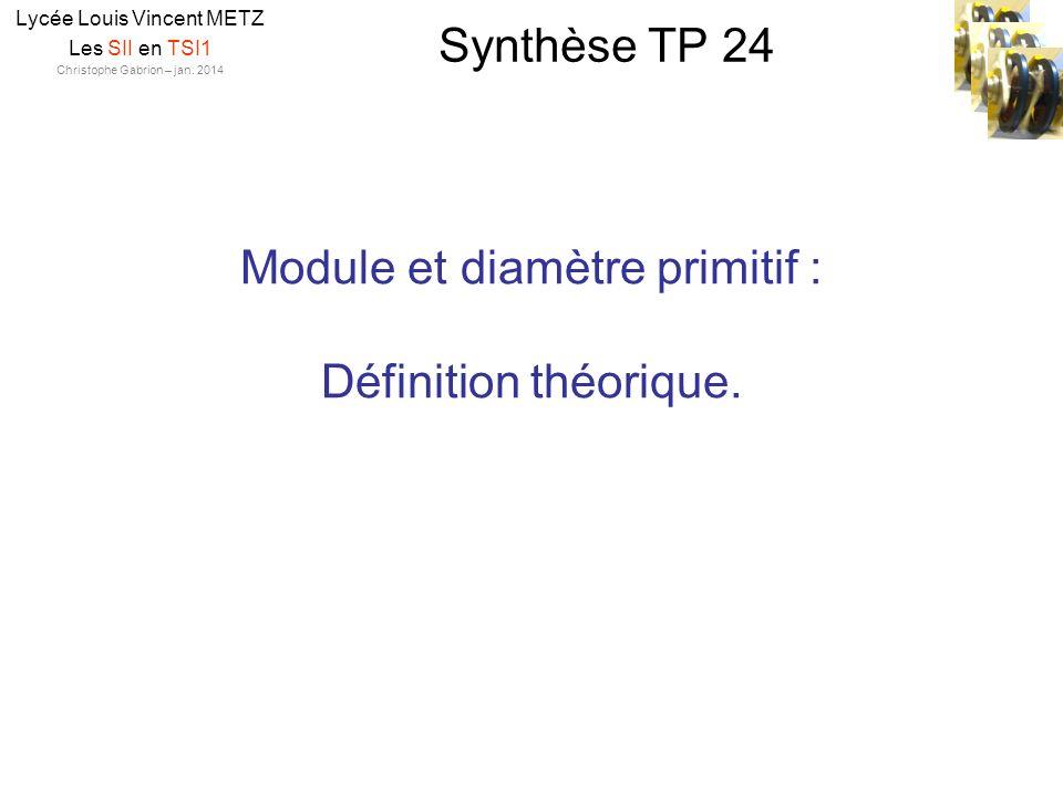 Module et diamètre primitif : Définition théorique.
