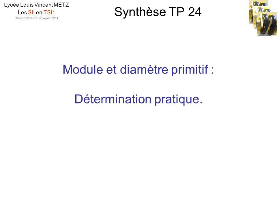 Module et diamètre primitif : Détermination pratique.