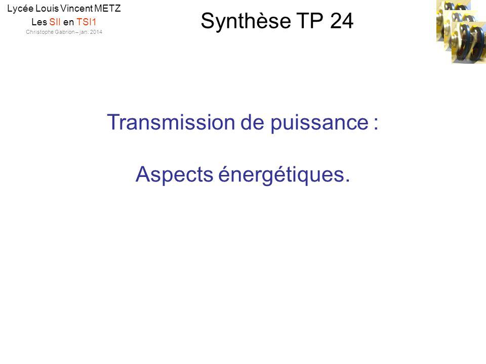 Transmission de puissance : Aspects énergétiques.