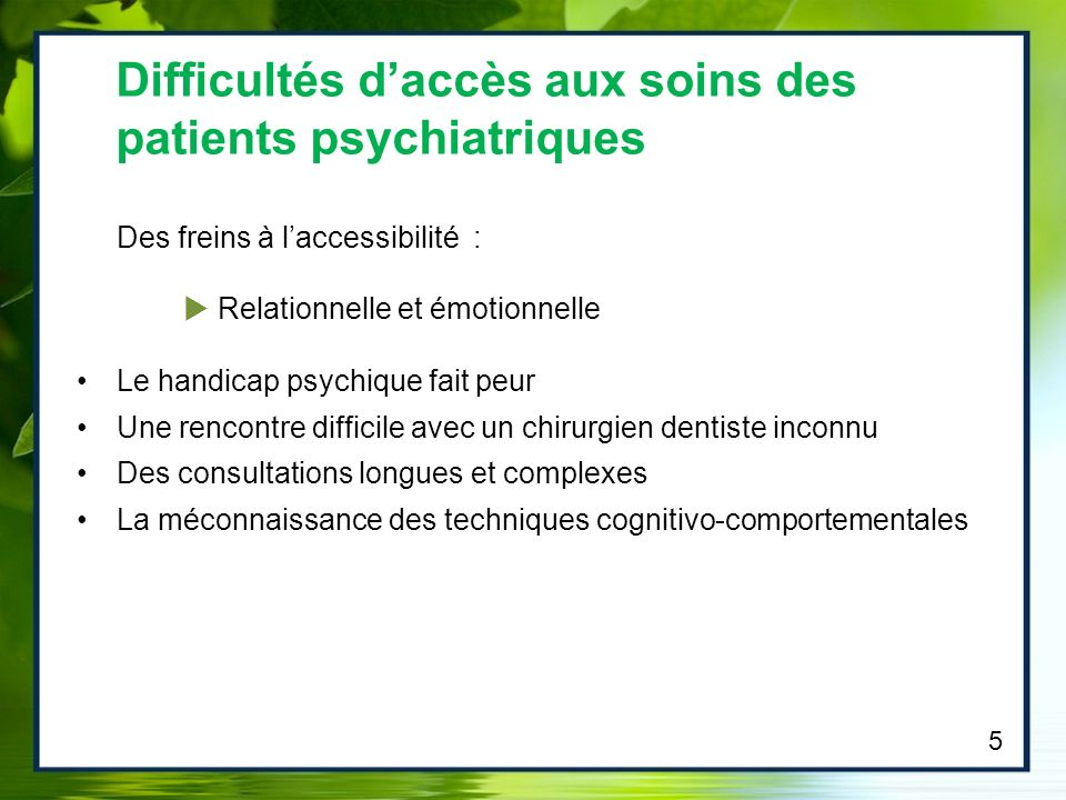 Difficultés d'accès aux soins des patients psychiatriques