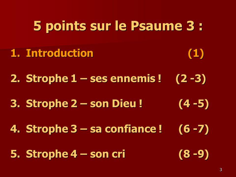5 points sur le Psaume 3 : 1. Introduction (1)
