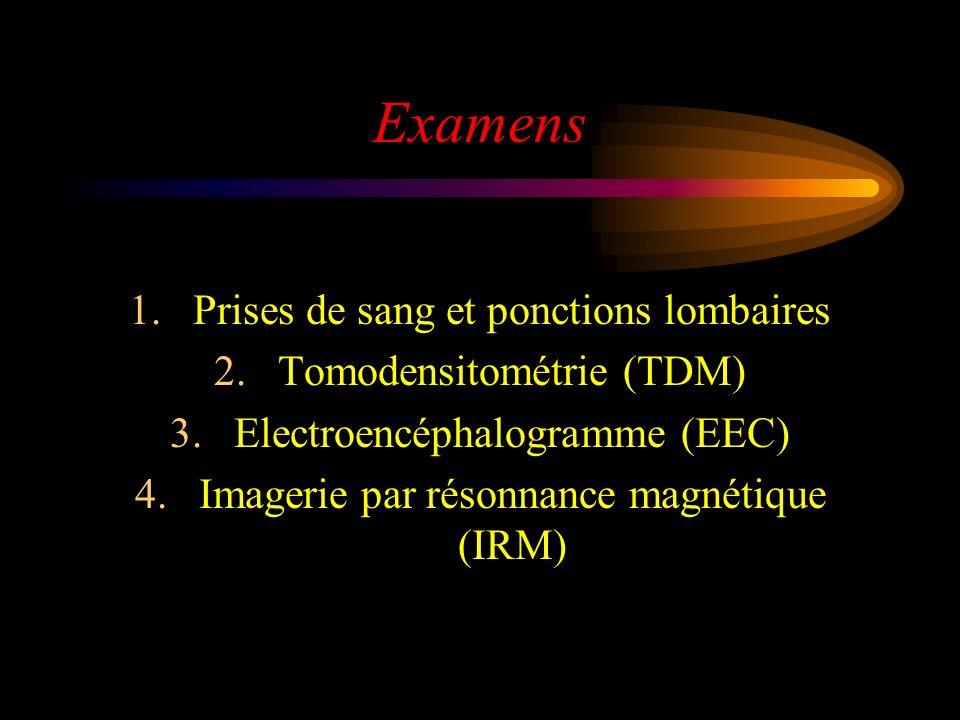 Examens Prises de sang et ponctions lombaires Tomodensitométrie (TDM)