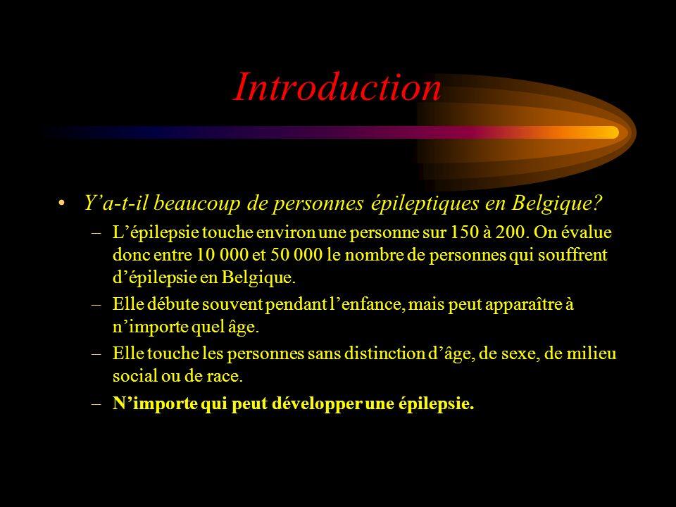 Introduction Y'a-t-il beaucoup de personnes épileptiques en Belgique