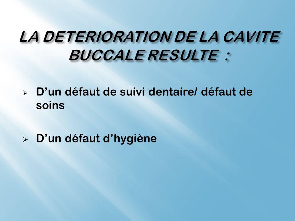 LA DETERIORATION DE LA CAVITE BUCCALE RESULTE :