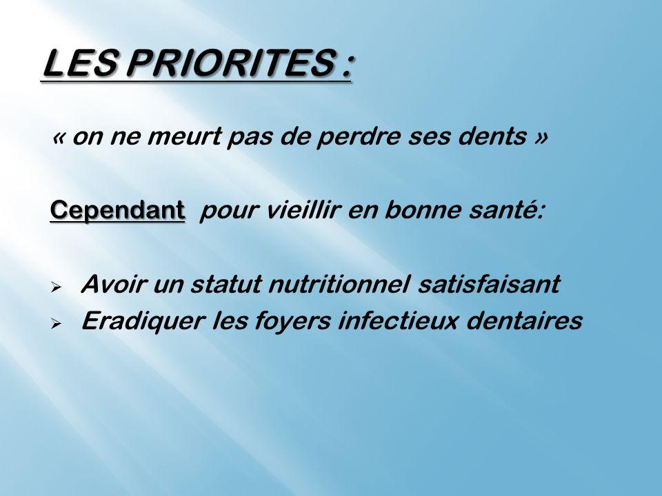 LES PRIORITES : « on ne meurt pas de perdre ses dents »