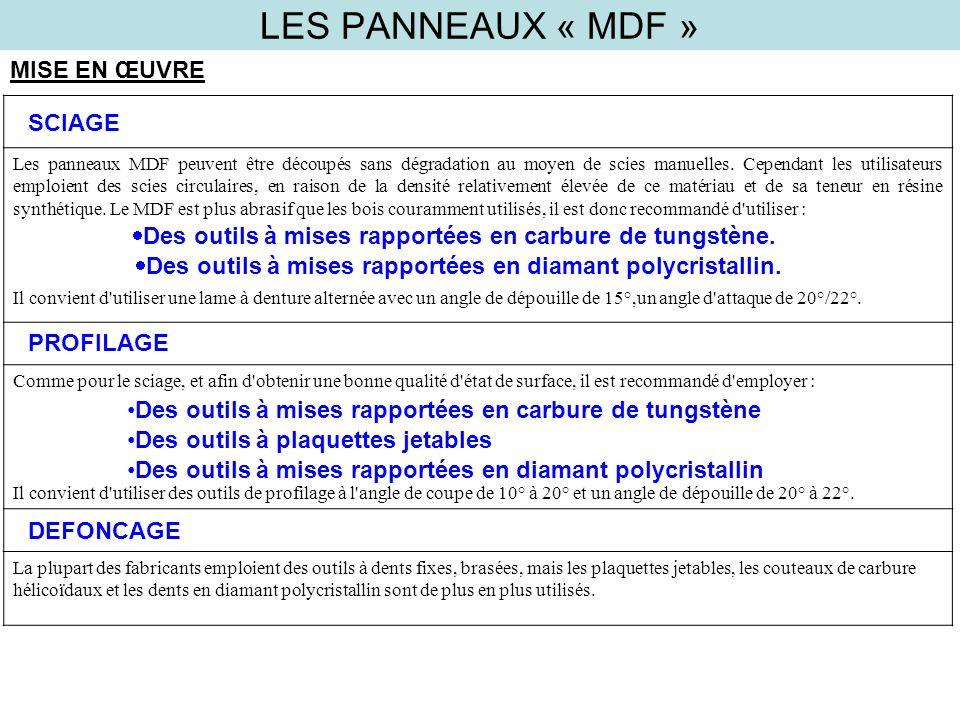 LES PANNEAUX « MDF » MISE EN ŒUVRE SCIAGE