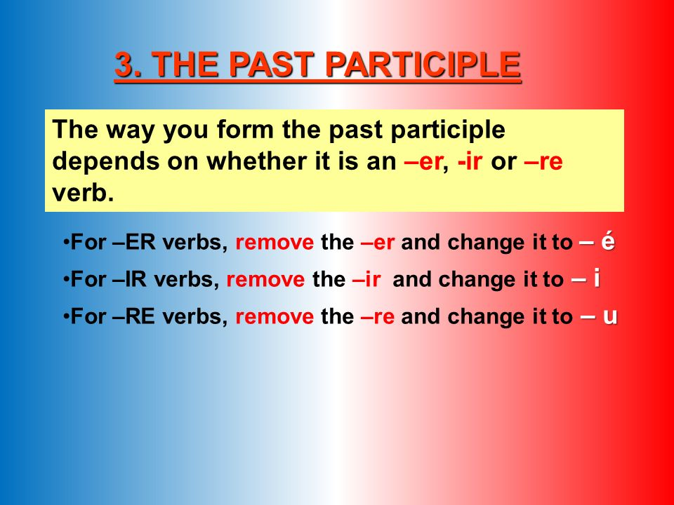 3. THE PAST PARTICIPLE The way you form the past participle depends on whether it is an –er, -ir or –re verb.