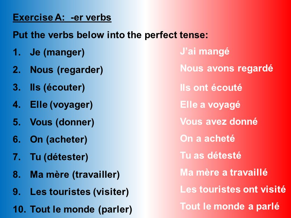 Exercise A: -er verbs Put the verbs below into the perfect tense: Je (manger) Nous (regarder) Ils (écouter)