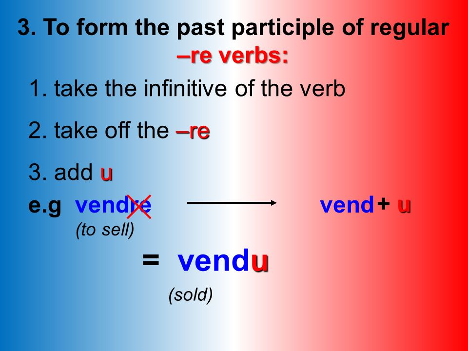 3. To form the past participle of regular –re verbs: