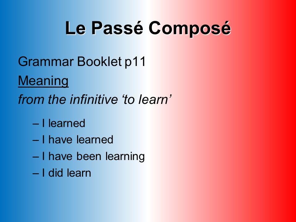 Le Passé Composé Grammar Booklet p11 Meaning