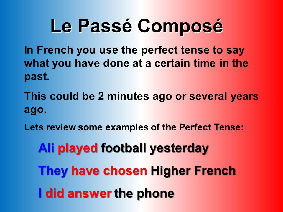 Le Passé Composé Ali played football yesterday