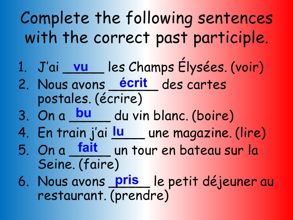 Complete the following sentences with the correct past participle.