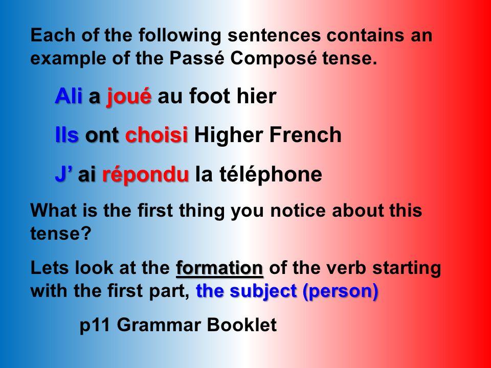 Ils ont choisi Higher French J' ai répondu la téléphone