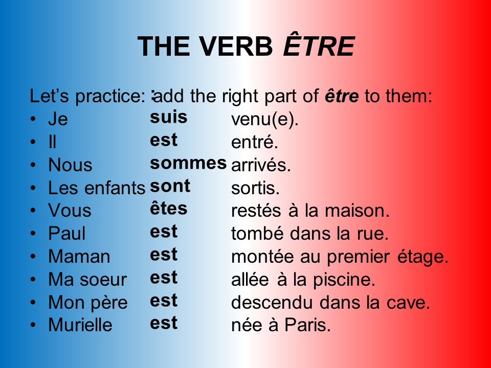 THE VERB ÊTRE : Let's practice: add the right part of être to them: